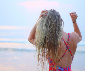 beach, swimsuit, and salty hair image