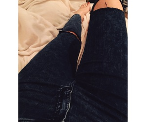 bed, cosy, and jeans image