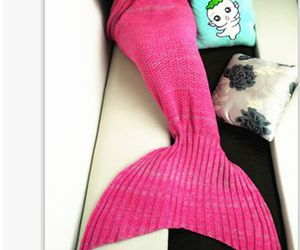 mermaid, pink, and blanket image