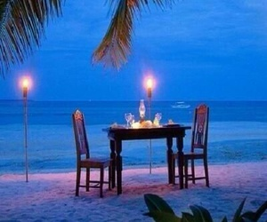 beach, romantic, and dinner image