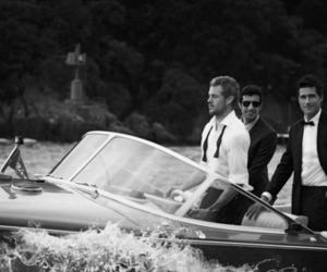 men, boat, and black and white image