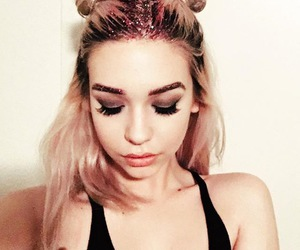 blonde, colored hair, and space buns image