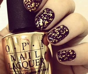 nails, gold, and opi image