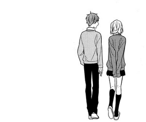 anime, love, and black and white image