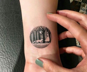 tattoo, forest, and wolf image