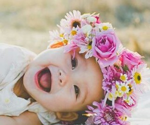 baby, beautiful, and flower image