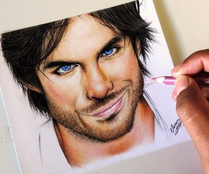blue eyes, brown hair, and draw image