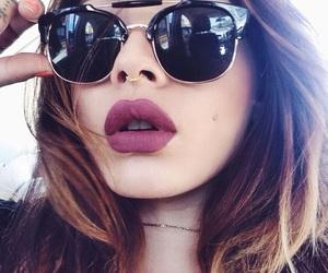 girl, lips, and sunglasses image