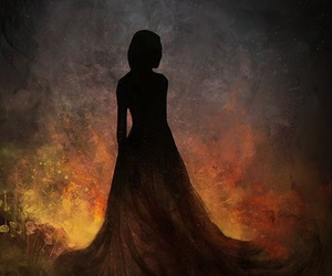 book cover, fire, and girl image