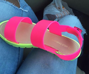 sandals, shoes, and neon image