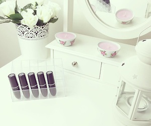 candles, decor, and dressing table image