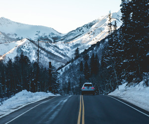 winter, car, and mountains image
