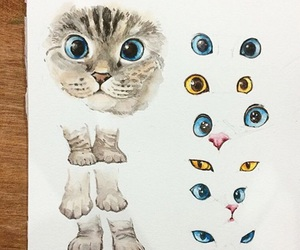 art, cat, and eye image