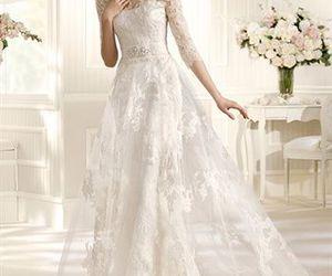 wedding dress, lace, and white image