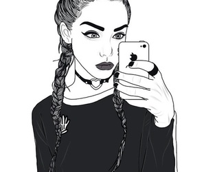 outline, tumblr, and black image
