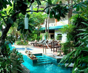 pool, house, and nature image