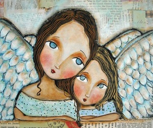 angels, art, and blue image