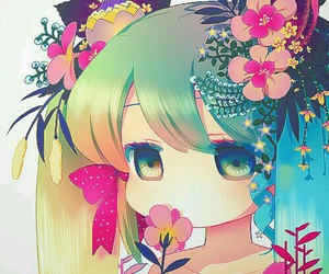 anime, kawaii, and flowers image