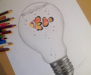 art, draw, and fish image