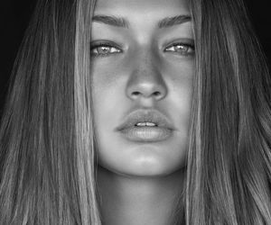 model, gigi hadid, and black and white image