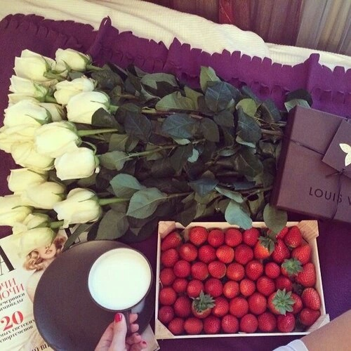 flowers, rose, and strawberry image