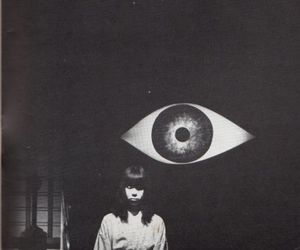 eye, girl, and black and white image
