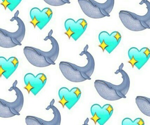 whale, heart, and wallpaper image
