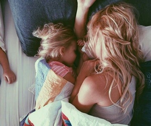 bed, cuddle, and family image