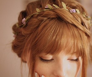 bangs, braid, and updo image