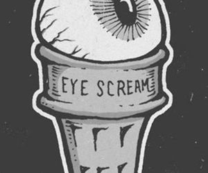 eye, ice cream, and black and white image