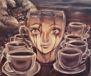 art, coffee, and painting image