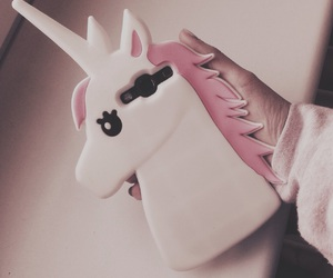 case, girly things, and unicorn image