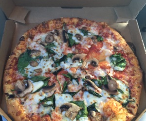 food, pizza, and domino's image