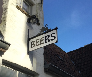 beers, roof, and sign image