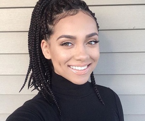 box braids, makeup, and smile image