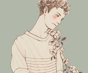 art, flowers, and boy image