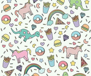 unicorn, wallpaper, and rainbow image