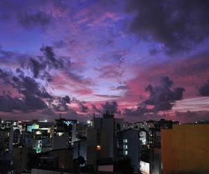 sky, city, and purple image