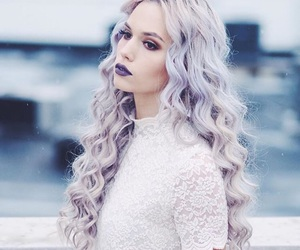 curly, purple, and hair image