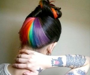 hair, tattoo, and rainbow image