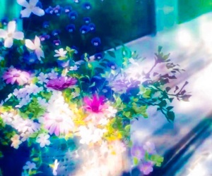 colorful, anime scenery, and anime flowers image