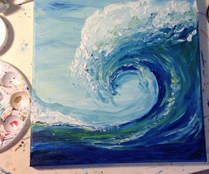 art, waves, and blue image