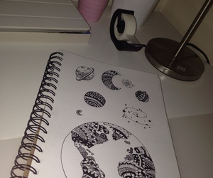 desk, doodle, and drawing image