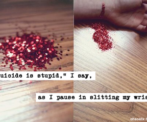 depression, suicide, and glitter image