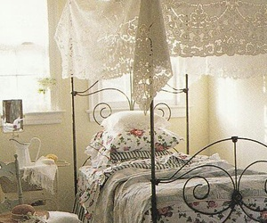 bed, canopy bed, and lace image
