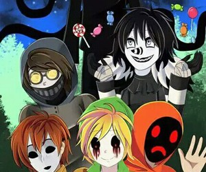 jeff the killer, laughing jack, and hoodie image