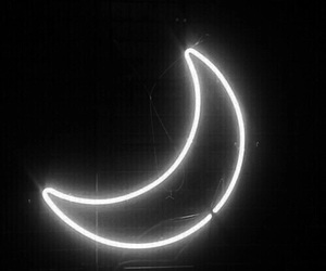 black and white, moon, and neon image
