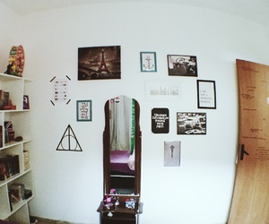 bedroom, deathly hallows, and decor image