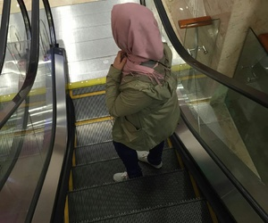 elevator, hijab, and vans image