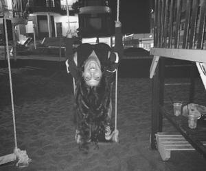 black & white, fun, and night image